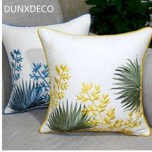 DUNXDECO наволочка декоративные наволочки стиль страны сад лист желтый синий вышивка Coussin диван украшения