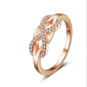 2,4 g Cubic Zirconia Infinity Symbol Anello CZ Forever Endless Love Promise Band Anello Eternity Friendship Band Oro rosa per le donne Ragazze