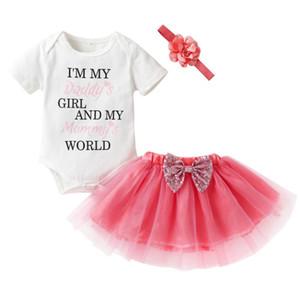 2018 Sommer Baby Mädchen Kleidung Neugeborenen Baumwolle Englisch Alphabet Strampler + Mesh Tutu + Kopfschmuck 3 Stücke Kleidung für Mädchen
