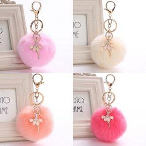 Ballerine mignonne Fluffy Keychain porte-clés strass lapin fourrure Pompon boule porte-clé Chaveiro ballerine ballet Porte-clés Sac à main femme charme