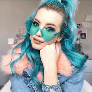 New Fashion Heart Women Sunglasses Transparent Jelly color lady sunglass Siamese One-piece lens Sunglasses