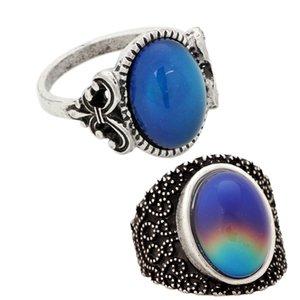 Рождество популярное женское настроение настроение каменные кольца празднование подарок серебряное кольцо 2 шт / набор