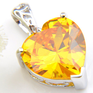 Luckyshine 6Pcs 1Lot Sweet Shiny Yellow Crystal Heart Cubic Zirconia Gemstone 925 Sterling Silver Women Wedding Collares Colgante 12 * 12mm