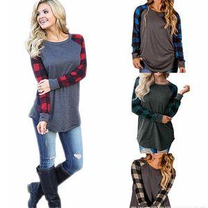 S-5XL 플러스 사이즈 체크 무늬 슬리브 T 셔츠 여성용 풀 오버 Hoodie 긴팔 오버 사이즈 스웨터 셔츠 Base 레이어 sPORTS 캐주얼 탑 티셔츠