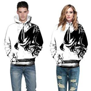 Neue Mode Sweatshirts Männer / Frauen 3d Hoodies Druckfarbe Schädel Und Kleine Drachen Mit Kapuze Heißer Verkauf Hoodies Dünne Pullover