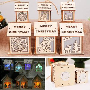 Led Christmas Wood House Hanging Décoration Pour Le Père Noël Elk Reindeer Bell Arbre De Noël Suspendu Ornements Décor De Noël Cadeau WX9-1003