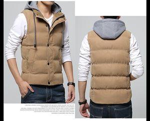 Designer Warm Vest Men Uomini Slim Fit Gilet staccabile Cappello Zipper Pockets Cappuccio caldo di inverno dei frangivento Khaki Men Vest M-4XL