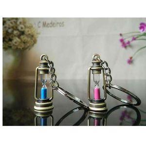 مصباح معدني لطيف الشكل الرملية مفتاح سلسلة حلقة المفاتيح الإبداعية حلية البند الجدة أفضل سحر هدية النساء الرجال زوجين الأزرق