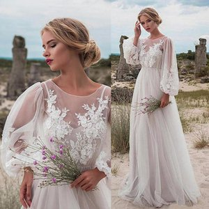 Fabuloso Tulle Jewel decote Natural Cintura A-Line Vestido de Noiva Com contas renda apliques embelezado rendas frisado vestidos de noiva
