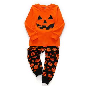 Bebek Kız Erkek Cadılar Bayramı Kostüm Giyim Setleri Toddler Kabak Pijama Takım Elbise Kabak Çocuk Pijama Mobilya Setleri