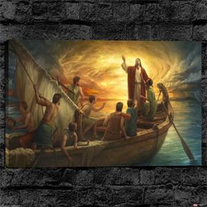 Иисус Успокаивает Шторм, Отпечатки На Холсте Wall Art Картина Маслом Home Decor / (Без Рамы / Обрамленная)