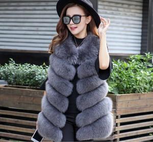 Yeni Tasarım Moda Kış Kadın Kürk Yelek Sahte Fox Kürk Yelek Kadın Sahte Kaban Ceket Kadın Bayanlar Coats Boyut S-4XL
