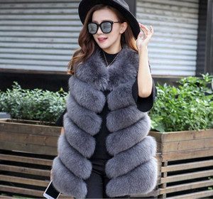 New Design Inverno Moda Mulheres Fur Vest Faux pele de raposa Coletes Mulher Brasão Falso Jacket Feminino Ladies Coats Tamanho S-4XL