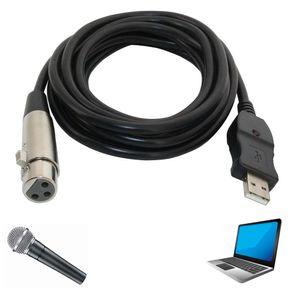 3M XLR أنثى إلى USB وصلة كابل الحبل محول اتصال ميكروفون إلى جهاز الكمبيوتر