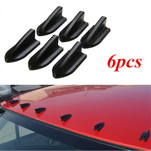 Wholsale 6pcs Universal Black EVO-Style PP Roof Shark Fins Spoiler Wing Kit Vortex Generator Car Styling