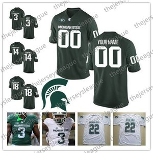 Spartans Do Estado De Michigan 2019 Personalizado Qualquer Nome Qualquer Número Verde Branco Costurado # 3 LJ Scott 8 Kirk Primos NCAA College Football Jerseys