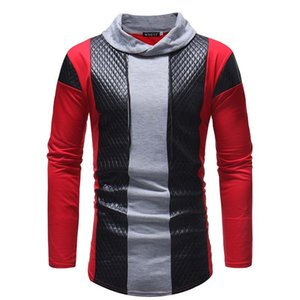 2018 autumn and winter new men's clothes, personality, solid color, leather constrast leisure stand collar long sleeves slim T-shirts