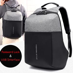 15 15.6 17 17.3 Inç USB Arabirimi Şifre Kilidi ile Naylon Dizüstü Laptop Sırt Çantaları Erkekler Kadınlar için Kılıf Okul Sırt Çantası