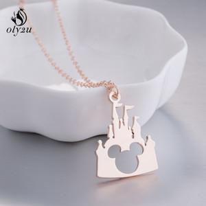 Oly2u Collares de Acero Inoxidable Colgante Castle Mouse Collar de Cadena de Joyería Para Mujer Accesorios de Ropa de Fiesta de Regalo de Navidad E