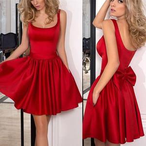 Nueva Red Short Homecoming Dresses Satin Bow con cuello cuadrado profundo Vestido de fiesta de graduación Ocasiones formales Desgaste BA9984