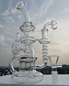 Recycler bong glass water pipe with thick 4mm quartz banger or bowl oil burner glass oil rig 14.4mm or 18.8mm joint