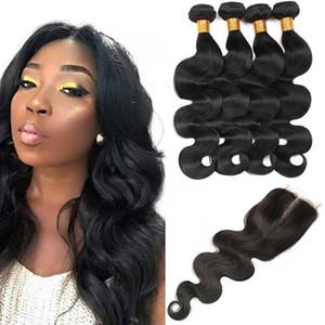 Body Wave 4 Bundles mit Spitze Schließung brasilianischen Naß und Welliges Haar Bundles Rohboden 7a Jungfrau-Haar Natural Black Günstige Haar-Verlängerungen