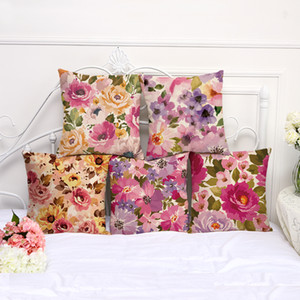 China Ink and Wash Floral Print Cotton Flax Pillow Case Cover Car Sofa Pillow Sham Armchair For Living Room Bedroom Study Room Dining Room