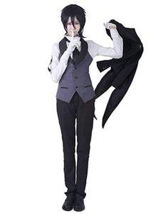 쿠로시 쯔지 의상 Sebastian Black Cosplay Tailcoat Butler Uamft.