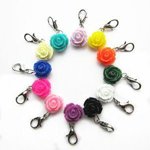 Vendita calda 120 pz / lotto mix 12 fiore di colore diverso ciondoli ciondolo charms moschettone per medaglioni galleggianti