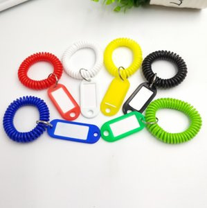 2018 new hot sale Plastic Spring coil Hotel bathroom number card ring key ring