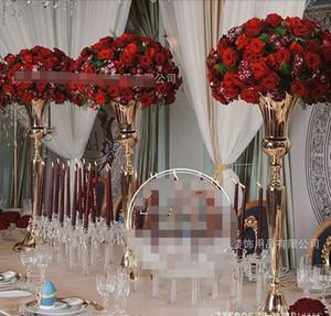 Heißer Verkauf 2018 neuer Splitter / Goldtrompete-Vase für Hochzeits-Mittelstück, Splitterblumenstand Vase, Hochzeitsblumenstandtabellendekor