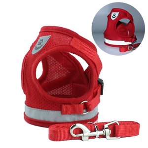 Nuovo tipo di imbracatura in rete per cane e guinzaglio in nylon con cinturino riflettente 4 colori 5 taglie