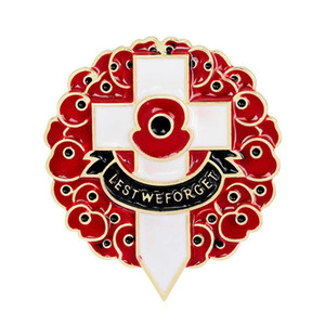 A fim de que não se esqueça da flor de papoula vermelha Cruz broche Pin para mulheres homens Suit broche de aniversário distintivo esmalte Breastpin Reino Unido dia da lembrança