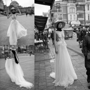Liz Martinez Beach Wedding Dresses Spaghetti Strap Lace Appliqued with Pearls Boho robe de mariée Tulle Summer Bridal Dress