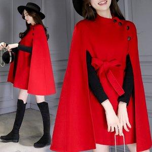 2018 جديد ربيع الخريف ملابس نسائية عادية طويل نحيف عباءة الصوفية معطف أنثى الأحمر البريطاني كيب الصوف سترات خارجية A1375