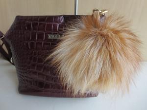 Fashion real fox fur and Dyeing silver fox Key chain Fur Pompom key ring charm Women Bag pendant  multicolored