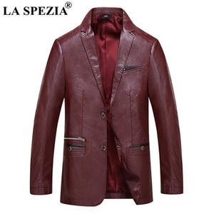 LA SPEZIA Burgundy Jacket Men Faux Leather Slim Fit Jackets With Pockets Gentlemen Casual Man Designer  Spring Autumn Coats