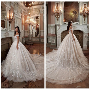 Off Shoulder Lace Ball Gown Wedding Dresses Princess Chapel Train Bridal Gowns Custom Lace Up Back Garden Luxurious Plus Size