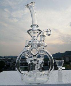 """Reciclador de vidro de 10 """"Gass bong com bump de quartzo de 4 mm duplo recicladores bongs cano de água piper de vidro 14.4mm comum ou comprar accessorie de fumar"""