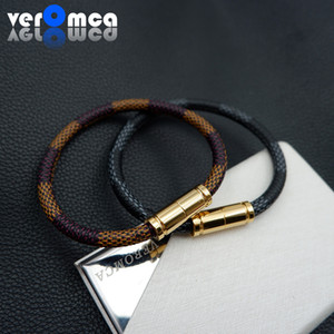 VEROMCA Stainless steel Magnetic Clasp Leather Bracelet Bracelets For Couple Simple Personalized Style Colorful Men Jewelry