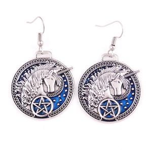Animal mythique Licorne Pentagram Talisman avec étoile magique bleu émail charme pendentif boucle d'oreille pas cher prix fournir Drop Shipping