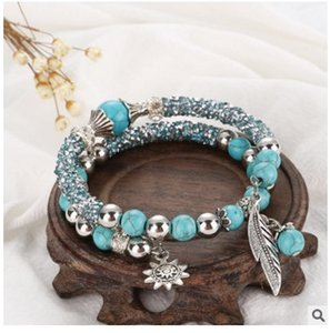 Jiasha Ruili Commercio all'ingrosso dei monili di modo delle donne Turchese Beaded Bead Bracelet drill