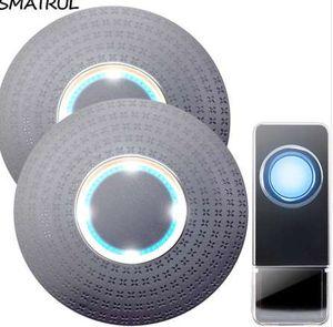 SMATRUL 방수 무선 Doorbell EU 플러그 300M 원격 홈 도어 벨 링 통화 차임 1 2 버튼 1 2 3 수신기 LED 조명 청각 장애인