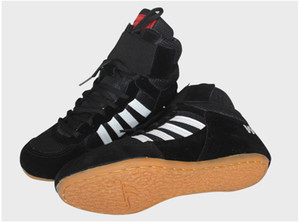 2018 New Men Wrestling Shoes chaussures de boxe à lacets Vache Muscle Cuir Cuir Caoutchouc Tissu boxer bottes Gym Sport Sneakers équipement Taille 36-46