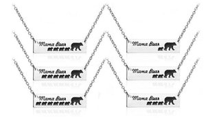 6 тип мама медведь Baby Bear кулон ожерелья эмаль Серебряный бар кулон мода мать и дочь сын ювелирные изделия для детей подарок