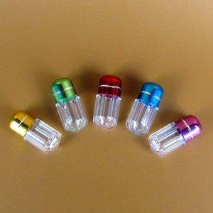 La capsule mignonne mini enferme les cas transparents ronds de pilule les bouteilles réutilisables en plastique avec le récipient en aluminium de produits médicaux de chapeau