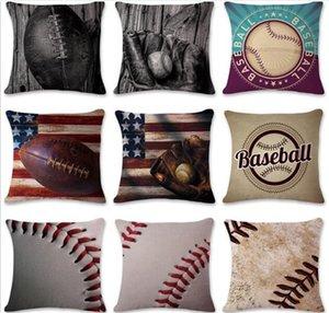 Baseball Football Pillow Case Cotton Linen Square Funda de cojín Sofá Coche Sala de estar Dormitorio Fundas de almohada C215
