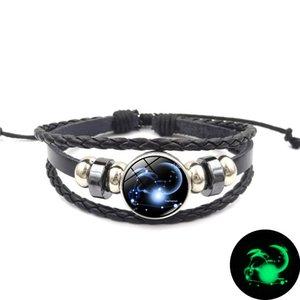 Glowing in the Dark Zodiac Armband 12 Konstellationen 18 MM Ingwer Druckknopf Charme Leder Woven Armband für Frauen Männer Modeschmuck