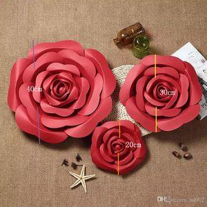Yapay DIY Kağıt Çiçek 20 CM 30 CM 40 CM Sahte Gül Çiçekler Yatak Odası Duvar Düğün Dekor Fotoğraf Sahne 35zt ii