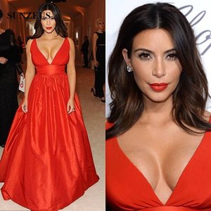 Sexy Deep V-neck Evening Dresses Red Taffeta Formal Long Gowns Kim Kardashian Party Gowns Simple A-line Celebrity Gowns
